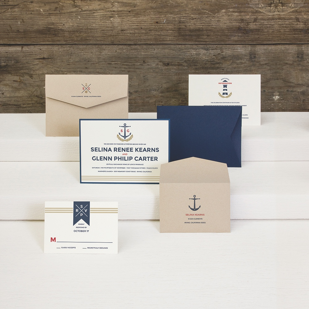 Anchor & Lighthouse wedding invitation by Envelopments is perfect for a seaside wedding, cruise wedding, or Navy wedding.