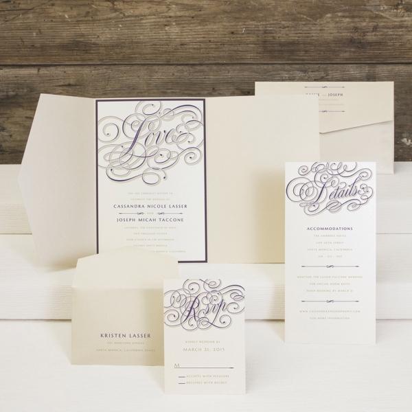 Calligraphy Crush pocketfold wedding invitation by Envelopments.
