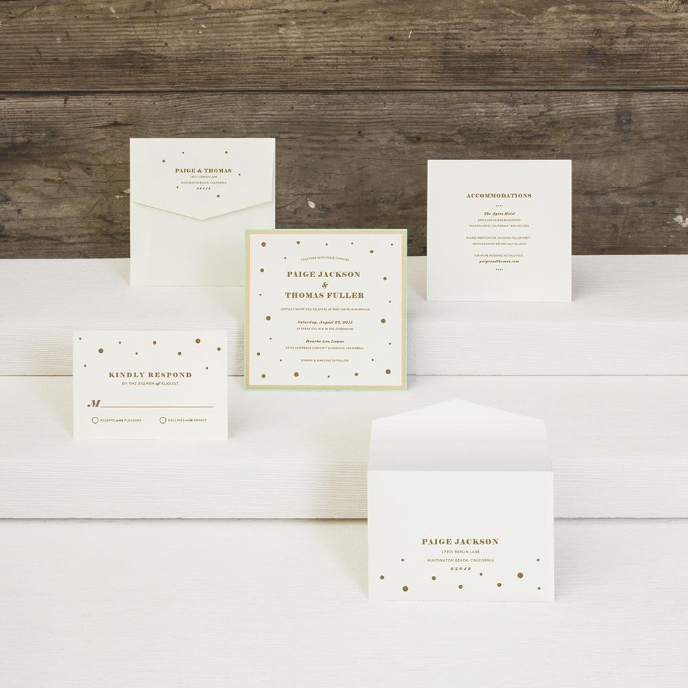 Confetti Spill layered wedding invitation by Envelopments.