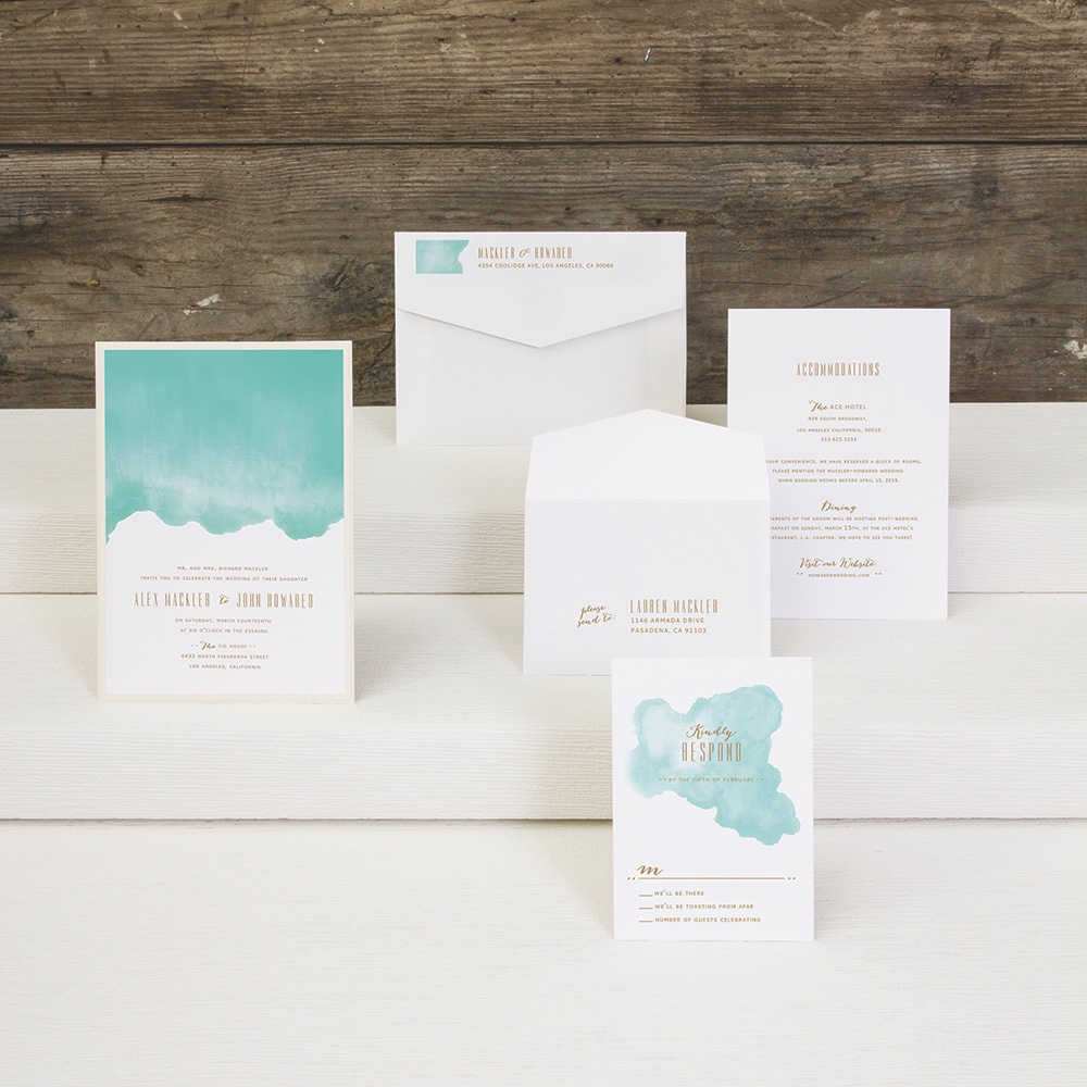 Daydream layered wedding invitation by Envelopments features a watercolor blur.