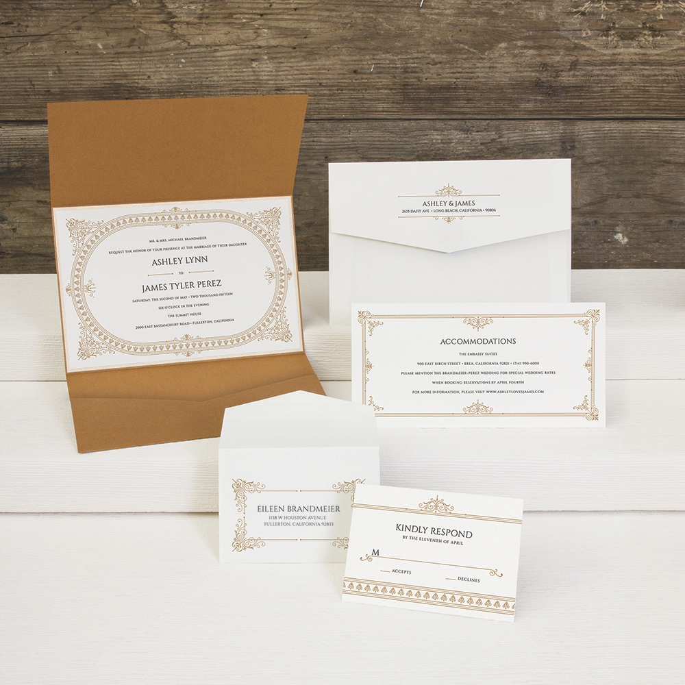Downtonesque pocketfold wedding invitation by Envelopments in the style of art deco era made famous by Downton Abby