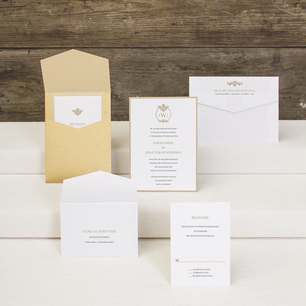 Family Crest layered pocket wedding invitation by Envelopments.