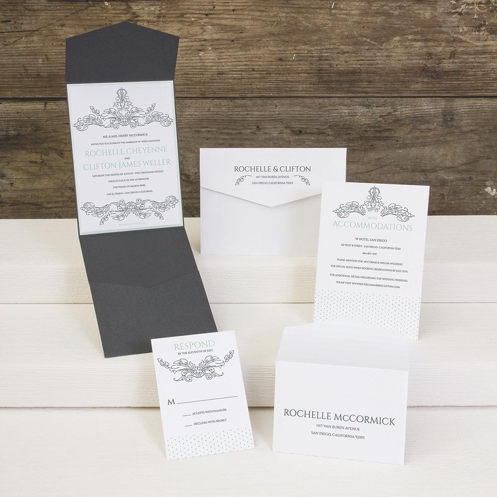 Finial Love flourished pocket fold wedding invitation by Envelopments.