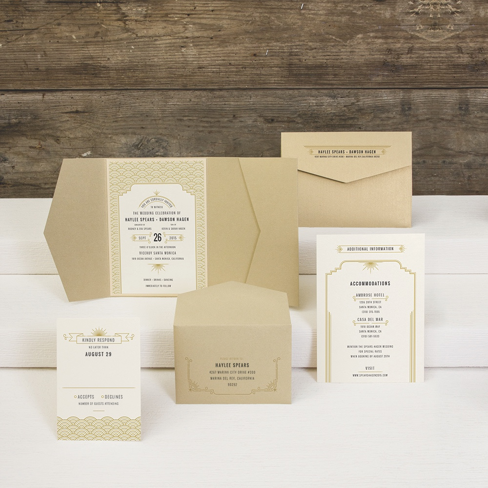Gatsbyesque Wedding Invitation by Envelopments features art deco frames and a metallic pocketfold.