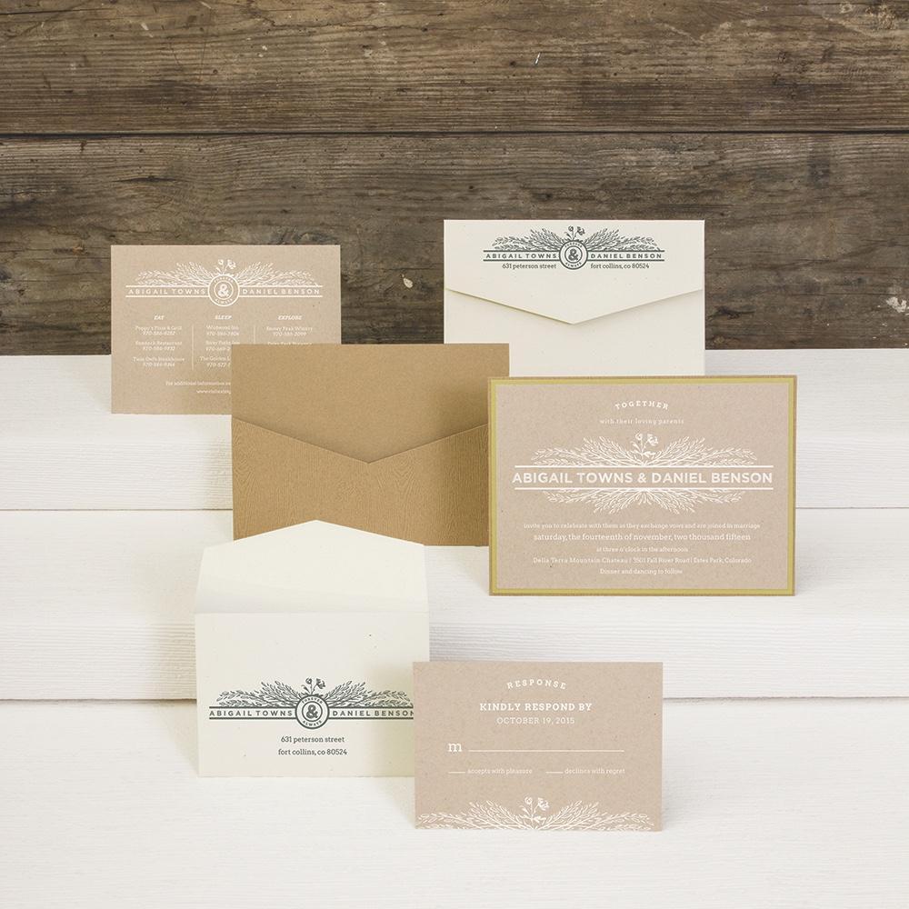 Joyful Harvest layered wedding invitation by Envelopments features white ink printing.