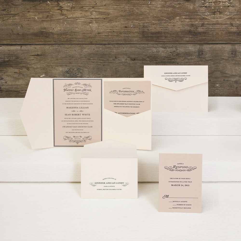 Once Upon a Time pocketfold wedding invitation by Envelopments.