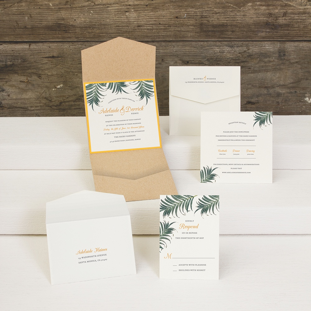 Palm Palm pocketfold wedding invitation by Envelopments features lovely palms along the border and a bright accent layer.