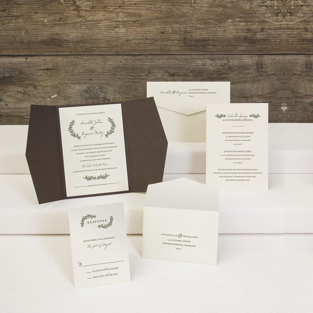 Sage Brush Wings pointed gatefold wedding invitation by Envelopments