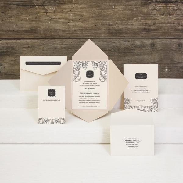 Silhouette Joy pointed flap ponchette invitation by Envelopments features beautiful black botanic artwork.