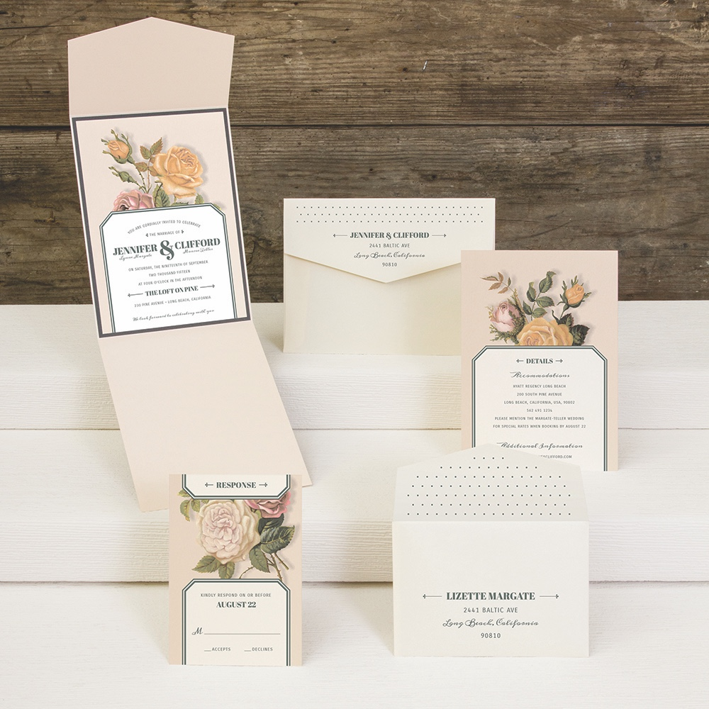 Victorian Roses pocket wedding invitation by Envelopments features colorful vintage artwork on neutral papers.