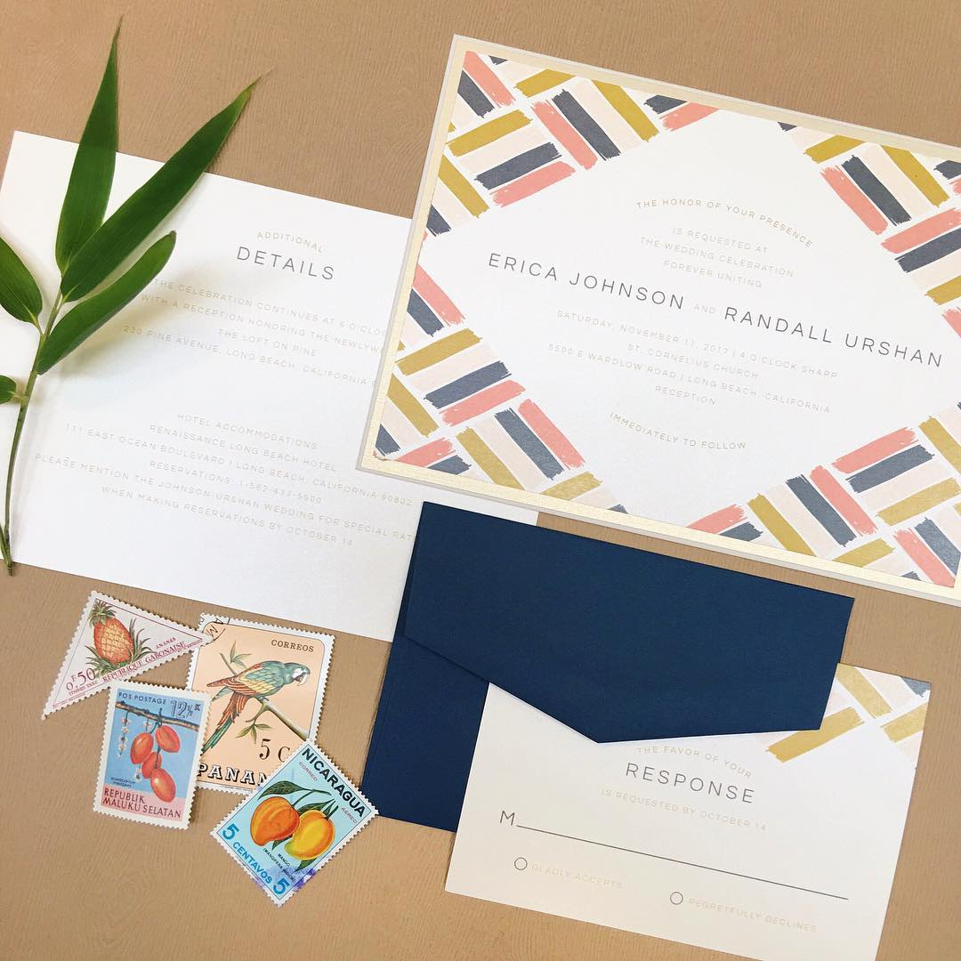 Painted Parquette wedding invitation by Envelopments is a beautiful use of color and shape around your text.