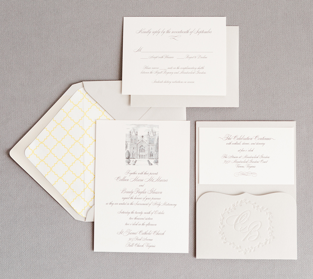 custom drawn artwork of the ceremony church, a letterpresses monogram on the scalloped pocket, and the perfect touch of yellow on the envelope liner, this invitation was perfectly personalized for Colleen and Brady!