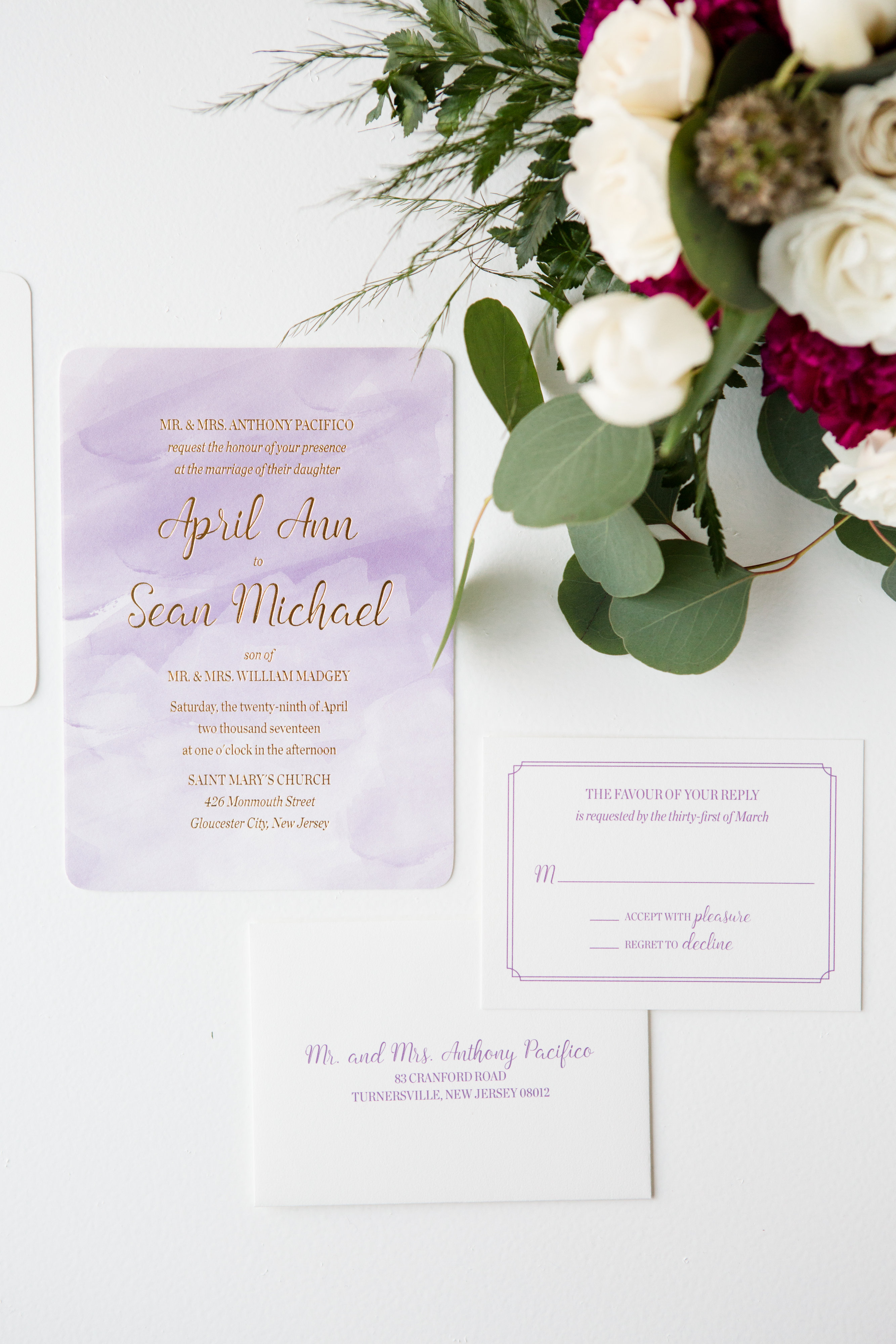 Purple watercolor background, gold foil stamping, formal wedding invitation