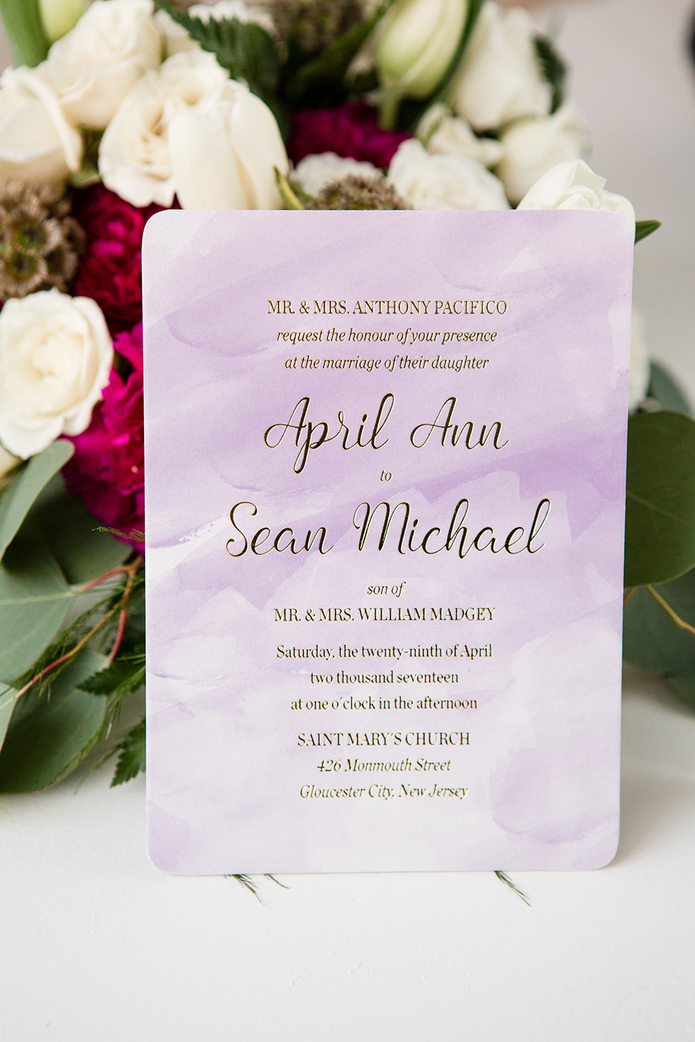 purple watercolor background gold foil stamping wedding invitation