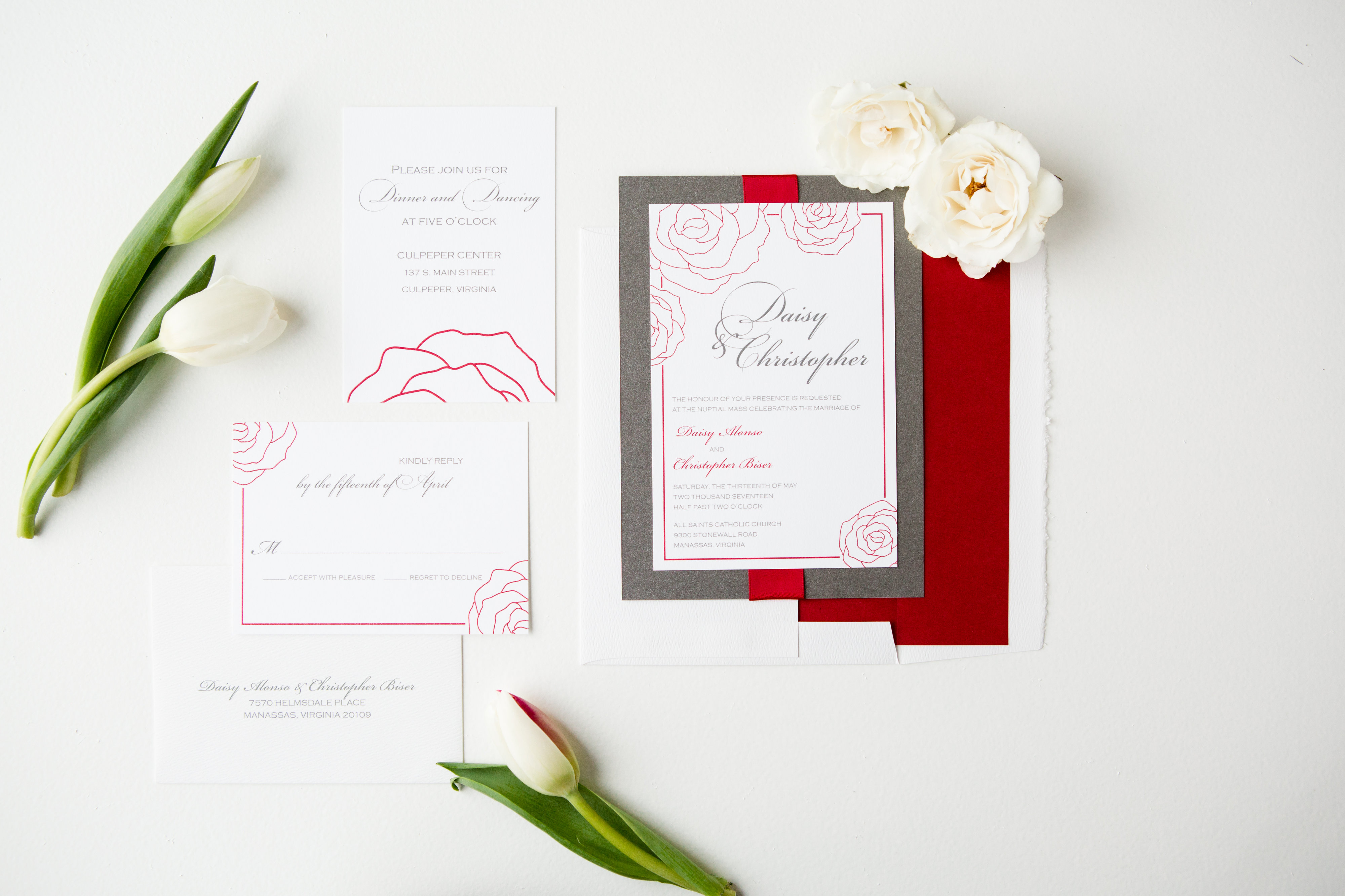 Daisy & Christopher's Red Rose Wedding Invitations