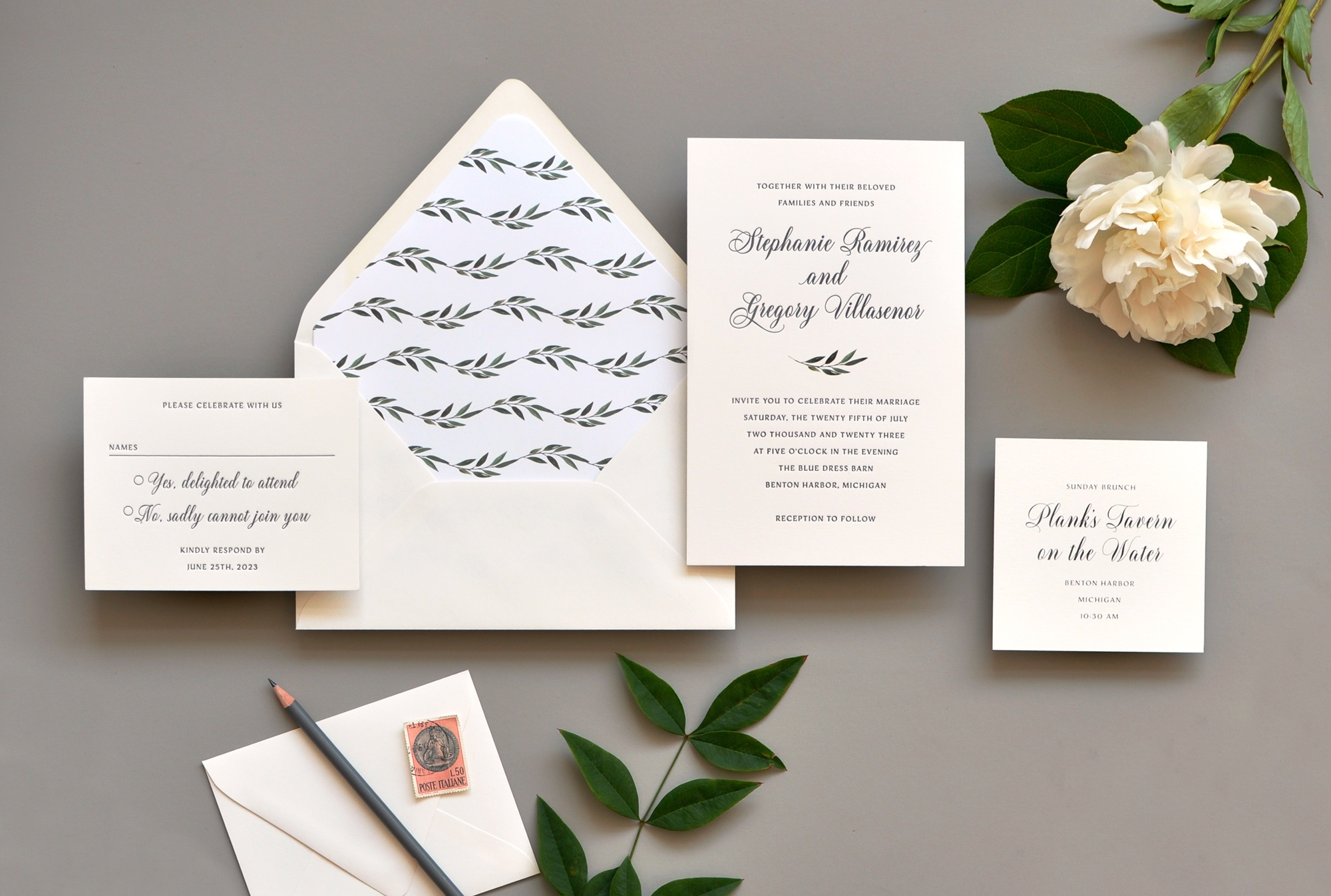 Botanical letterpress wedding invitations in Northern Virginia, Washington DC, and Maryland.