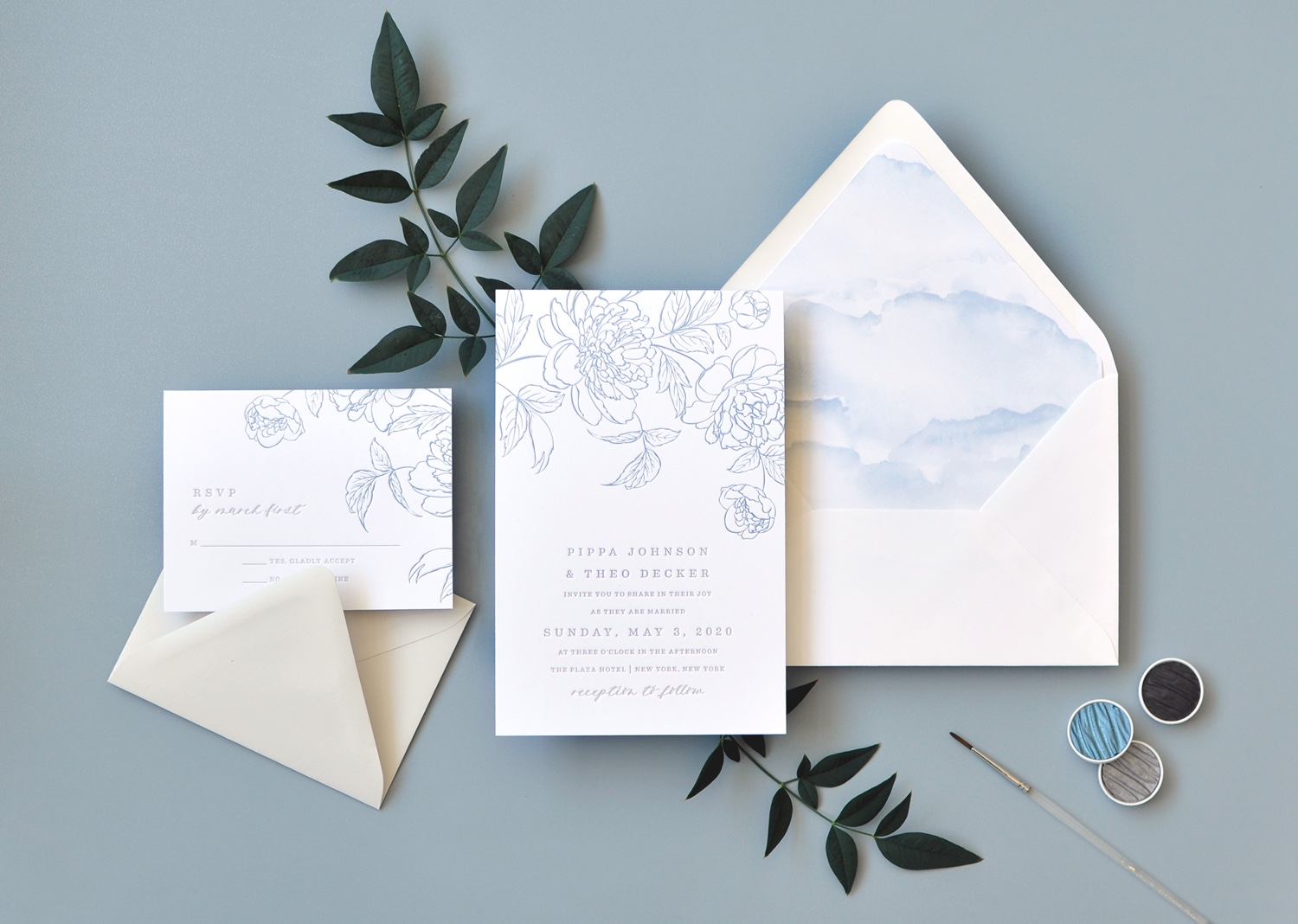 "Virginia Letterpress Wedding Invitation ""Pippa"" pale blue vintage floral sketch."