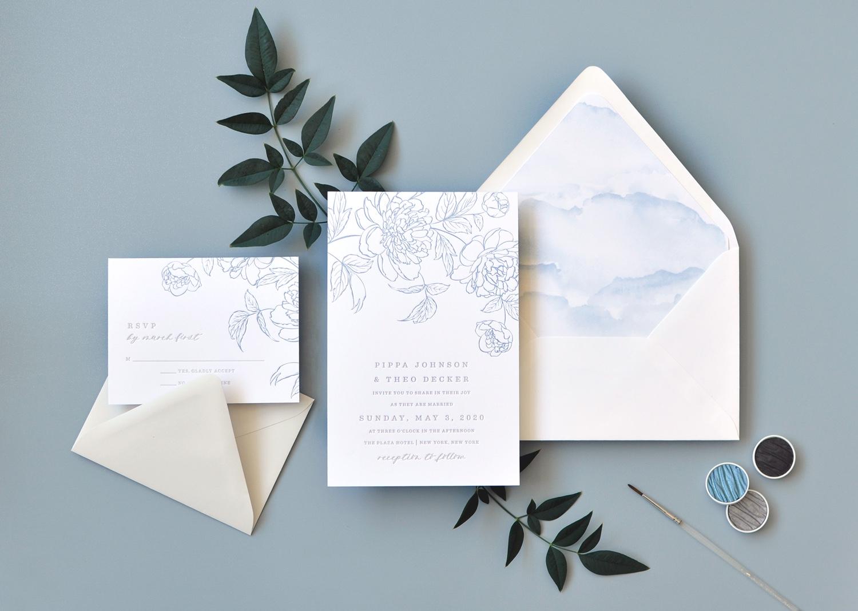 "Virginia Letterpress Wedding Invitation ""Pippa"" pale blue vintage floral sketch."