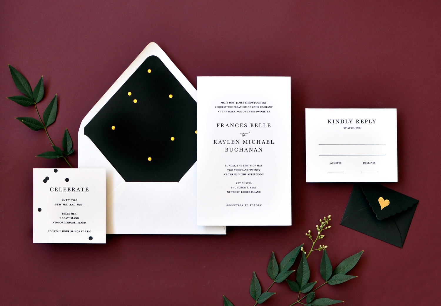 Frances luxury wedding invitation is bold in it's simplicity.  beautiful text setting!  A pop of drama comes from a delicate sprinkle of gold foil dots on a black envelope liner.