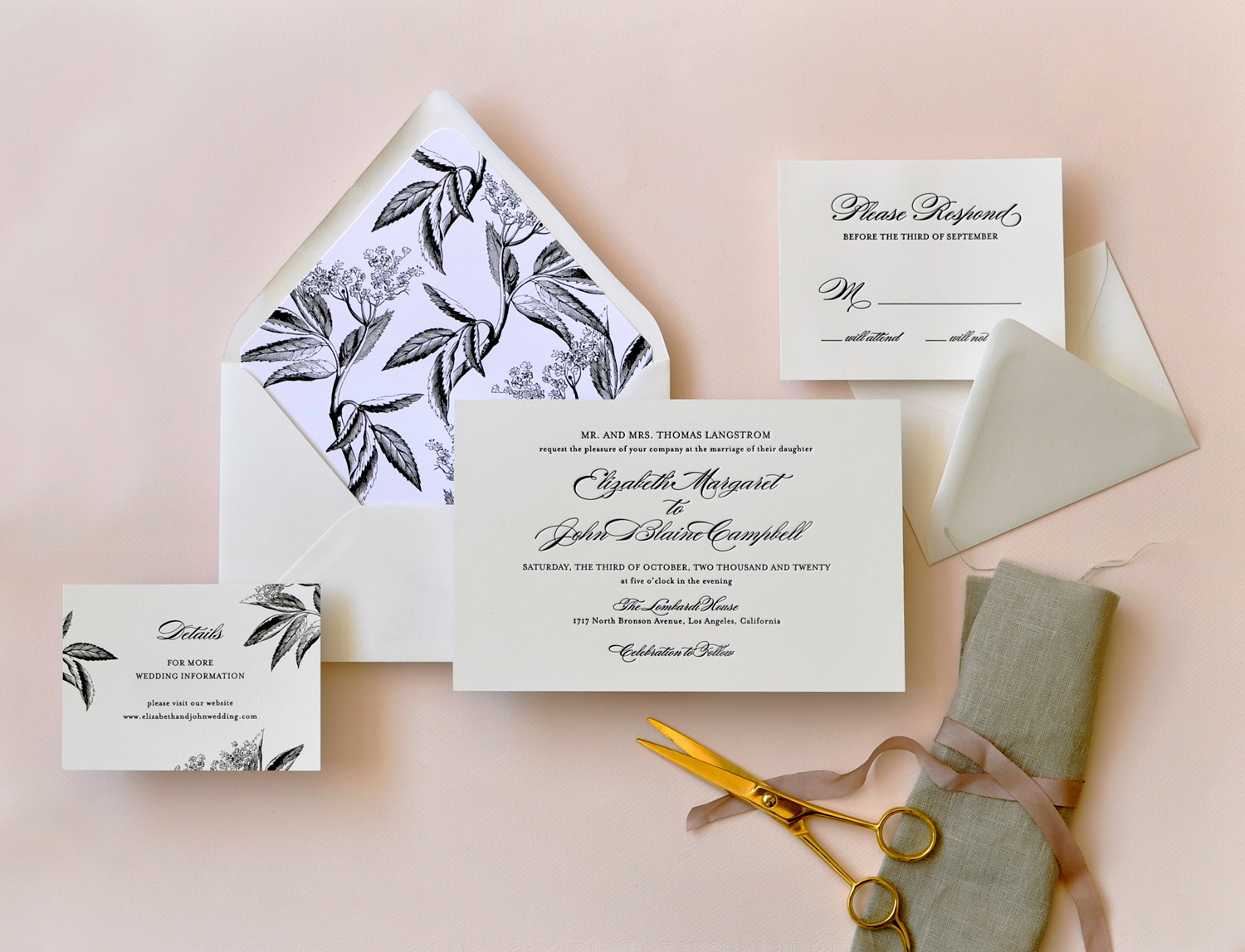 A large, thick card is beautifully letterpressed in a formal script and block lettering on natural white paper.  A black and white envelope liner is a dramatic pairing!