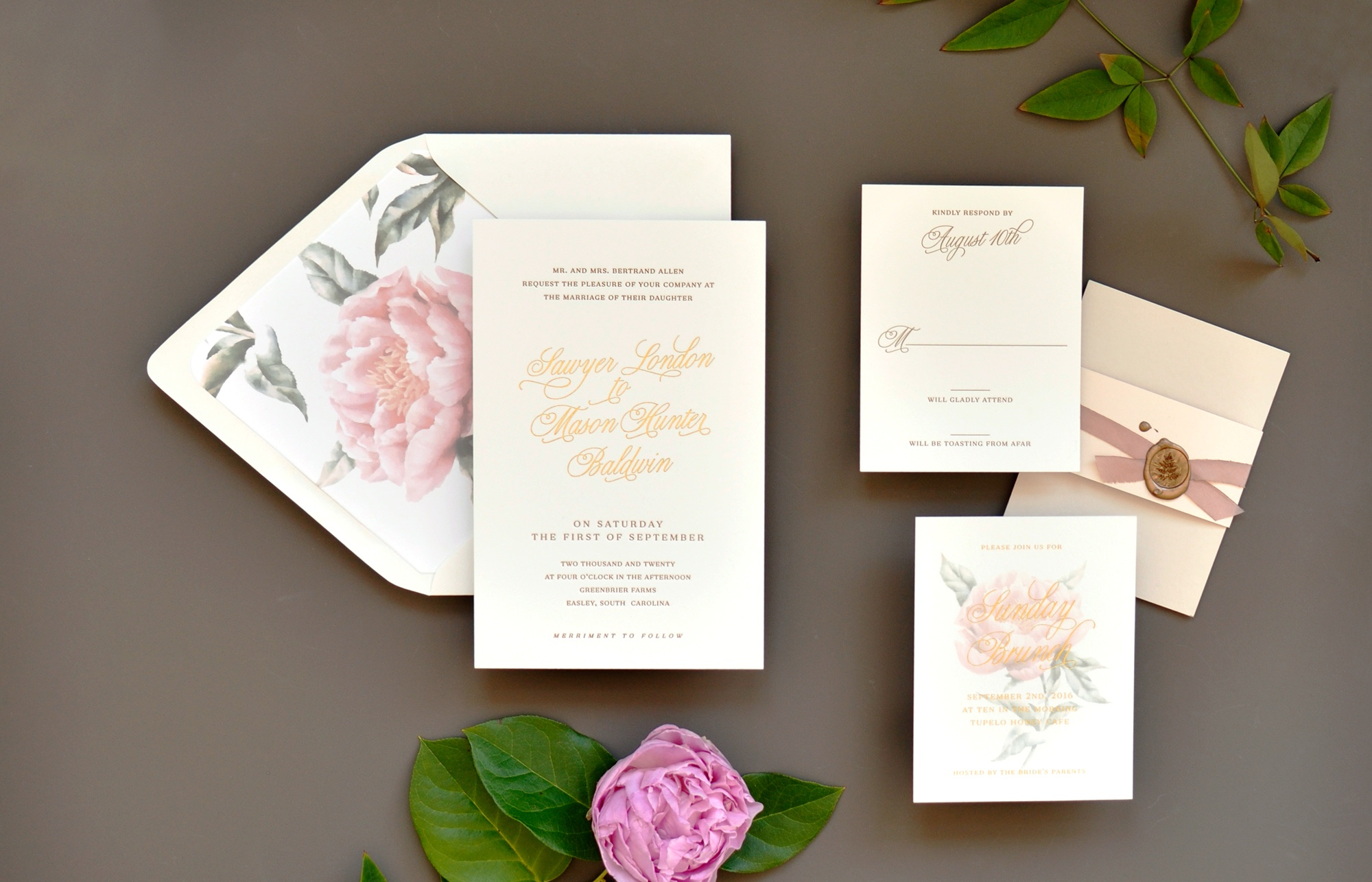 Letterpress & Foil Wedding Invitations Washington DC, peony envelope liner, neutral colors.