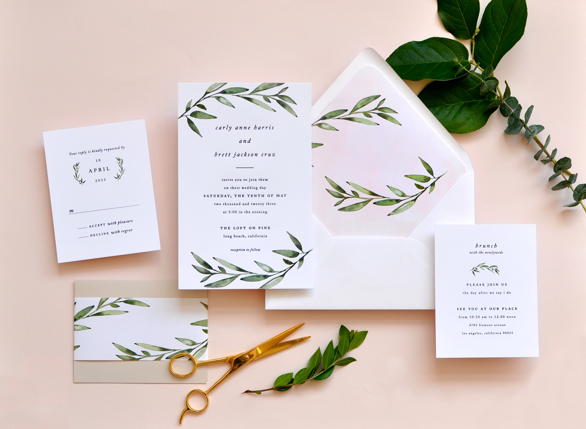 Luxury wedding invitations northern Virginia.  Beautiful watercolor olive branches and 1-color letterpress with lined envelope.