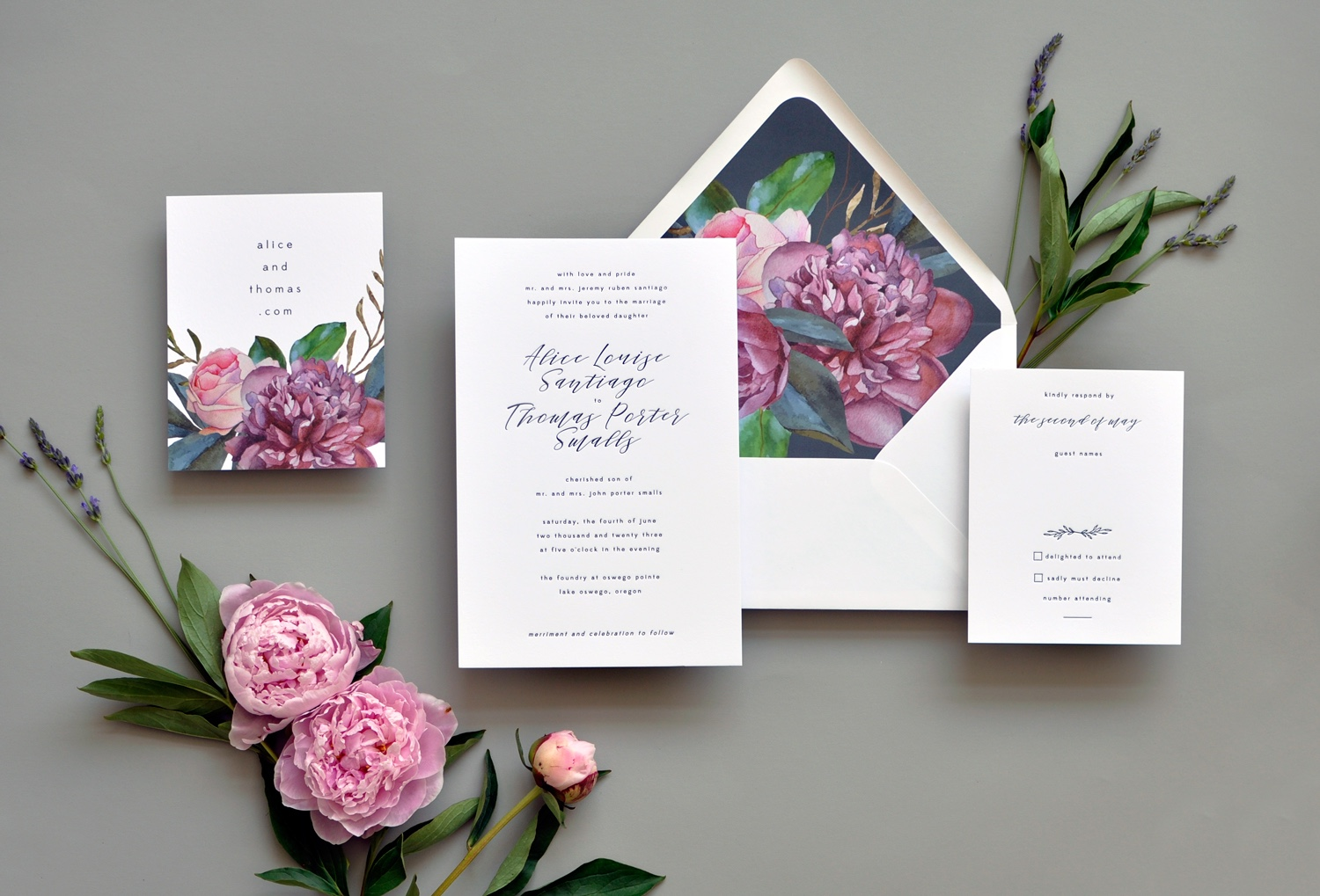 Luxury letterpress wedding invitation features bold color florals.  Washington DC wedding invitation.  Fairfax Virginia Wedding Invitations