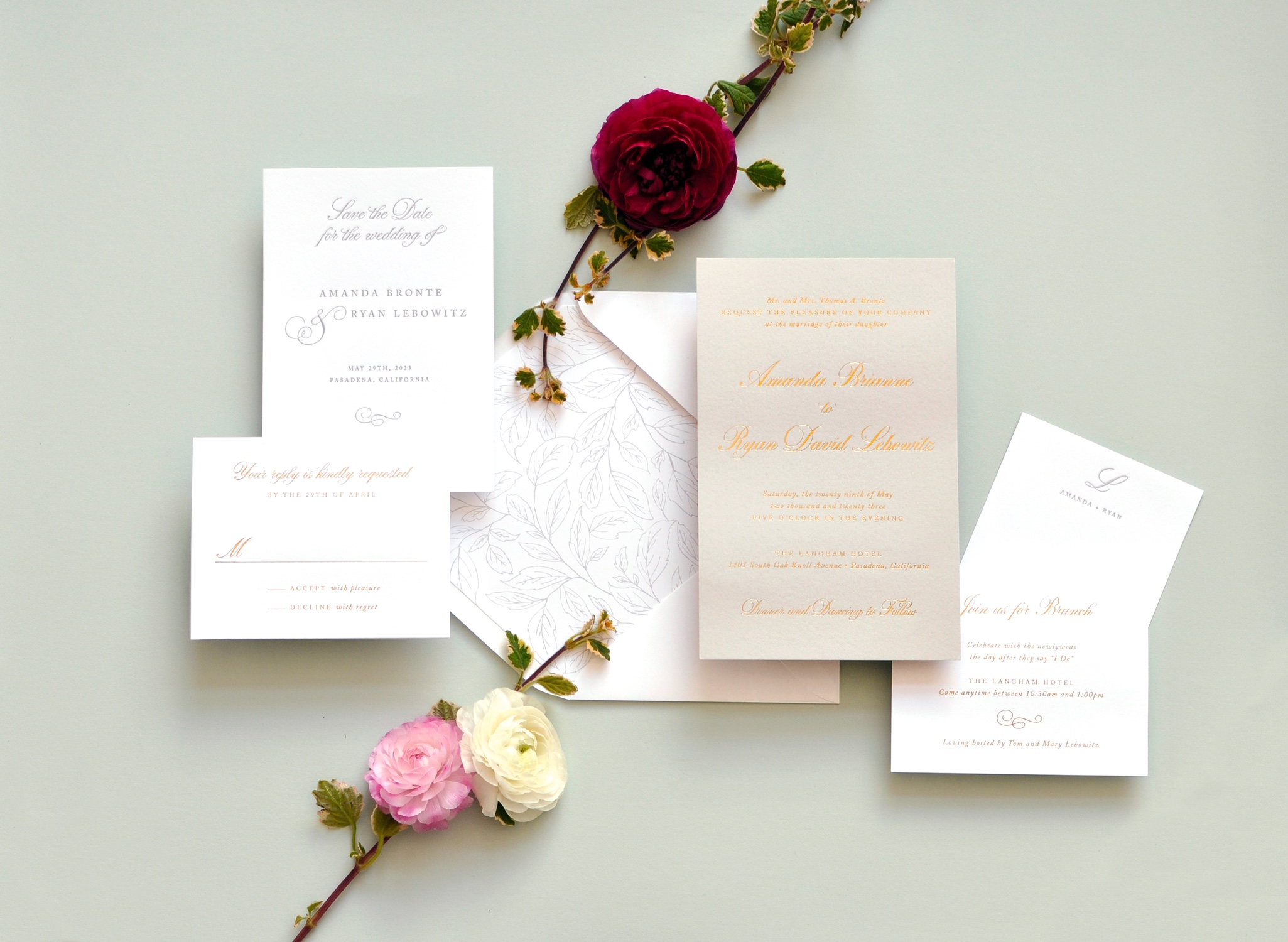 a pale grey card is foil stamped in gold for a modern, subtle, classic look.  Pair it with a subtle botanical envelope liner for just a touch of garden party glam.