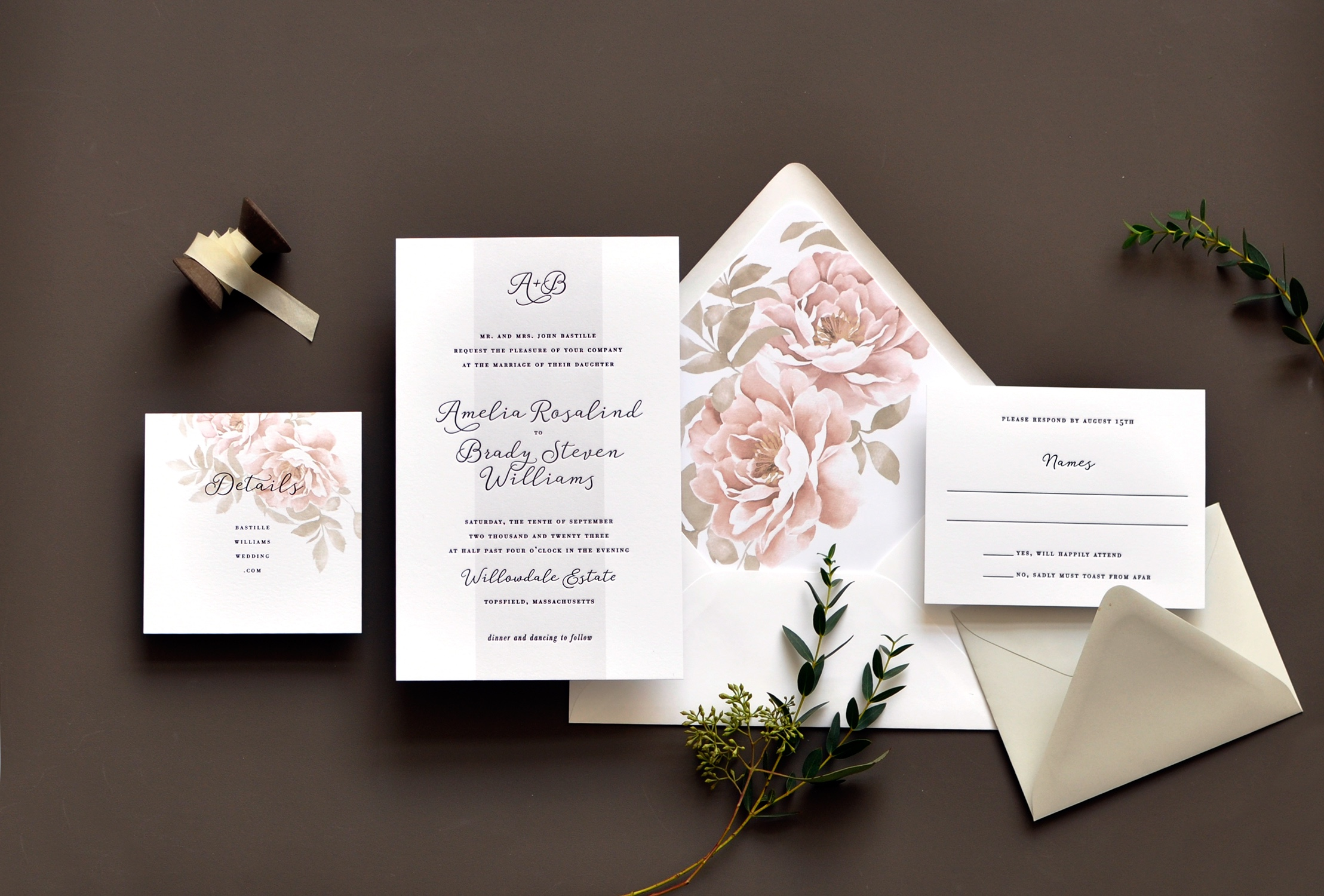 Modern calligraphy adorns this contemporary monogramed wedding invitation embellished with beautiful floral watercolor artwork.  Staccato serves engaged couples from Virginia, Maryland, Washington DC, and nationwide.