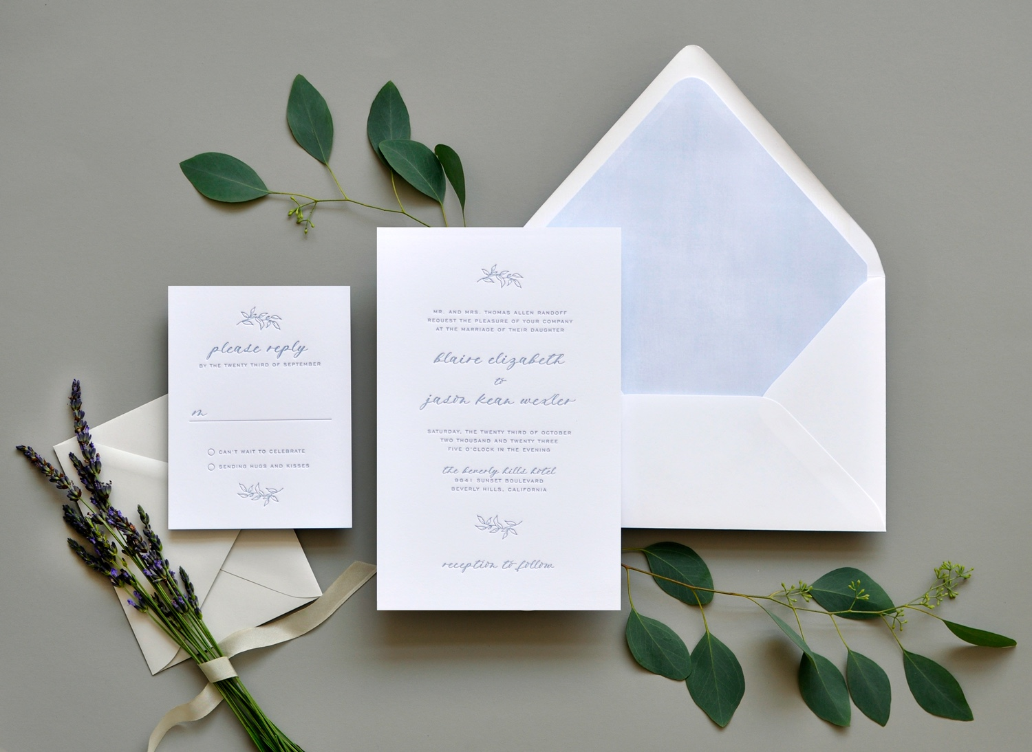 Washington DC Letterpress wedding invitations.  Calligraphy, pale blue letterpress.