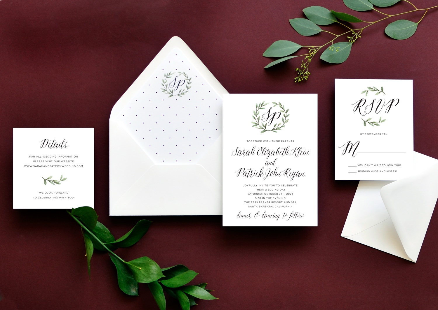 A watercolor laurel of greenery gently frames a monogram at the top of this contemporary wedding invitation featuring a beautiful calligraphy. Small polka dots are a great embellishment to the envelope liner.
