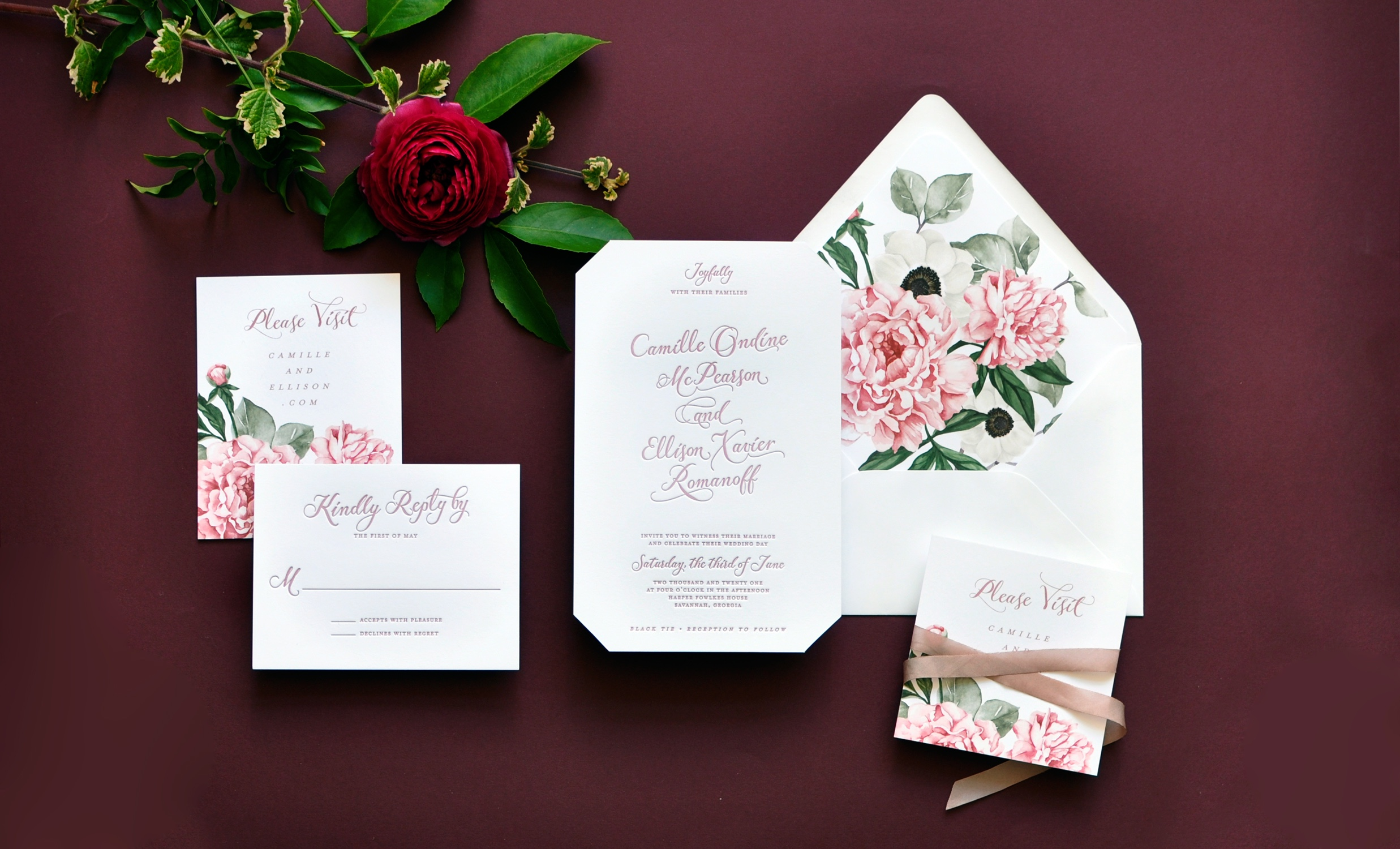The beveled corners of this 2-ply letterpress invitation add just the right contemporary flare while the peony and anemone bouquet offers a feminine touch in soft pink. Slanted calligraphy script paired with a contemporary cap lettering is very on-trend!