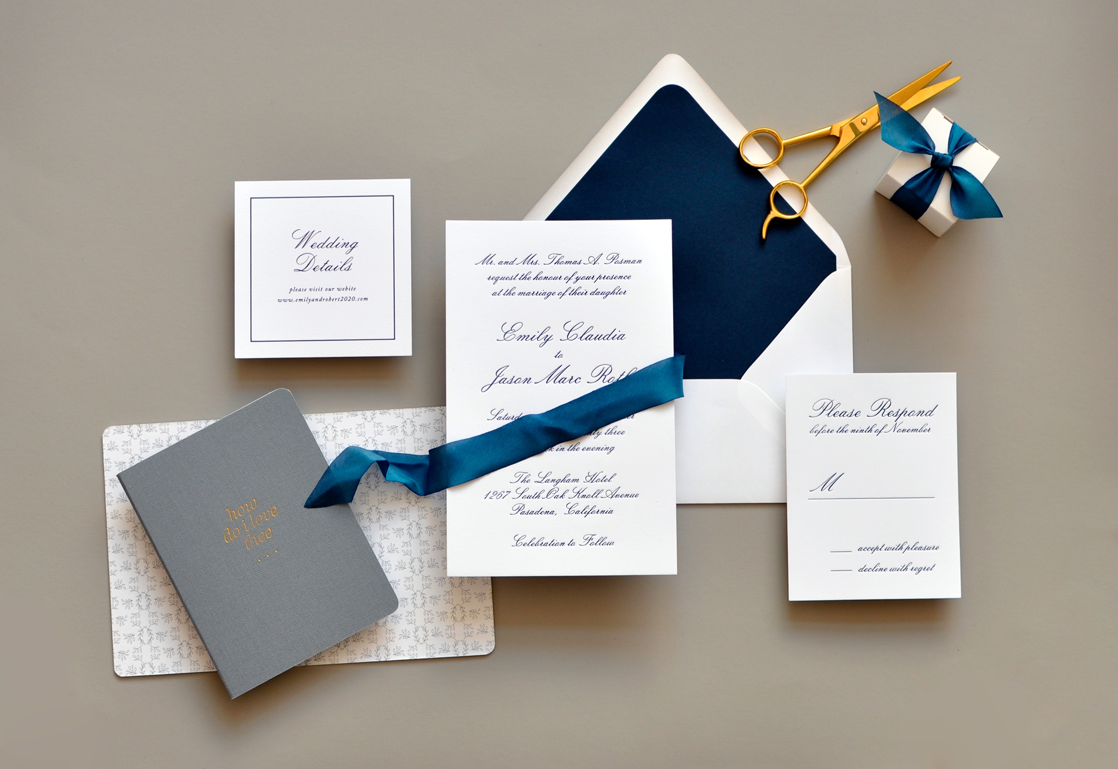Emily Luxury Wedding invitations Northern Virginia, Washington, DC, and Maryland.