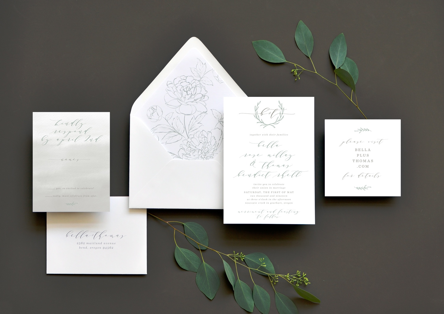 Heirloom Romance wedding invitation suite features delicate pencil sketch floral elements, a blend of lettering styles, and contemporary calligraphy.