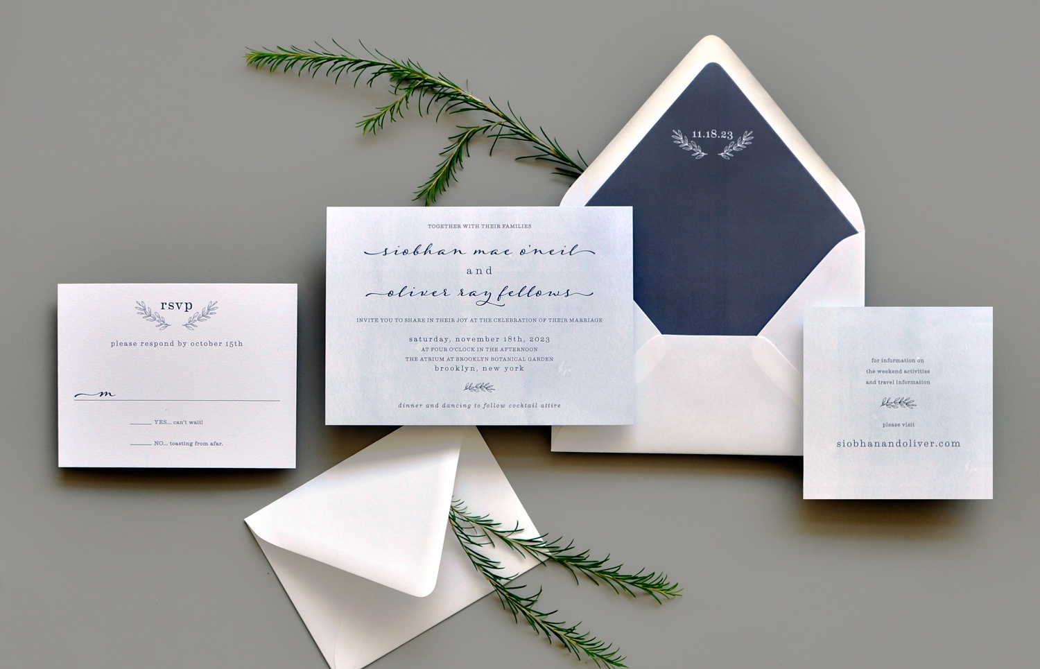 A natural looking watercolor wash is the background for a beautiful script and serif text setting.  Wedding date is featured prominently on the custom envelope liner.
