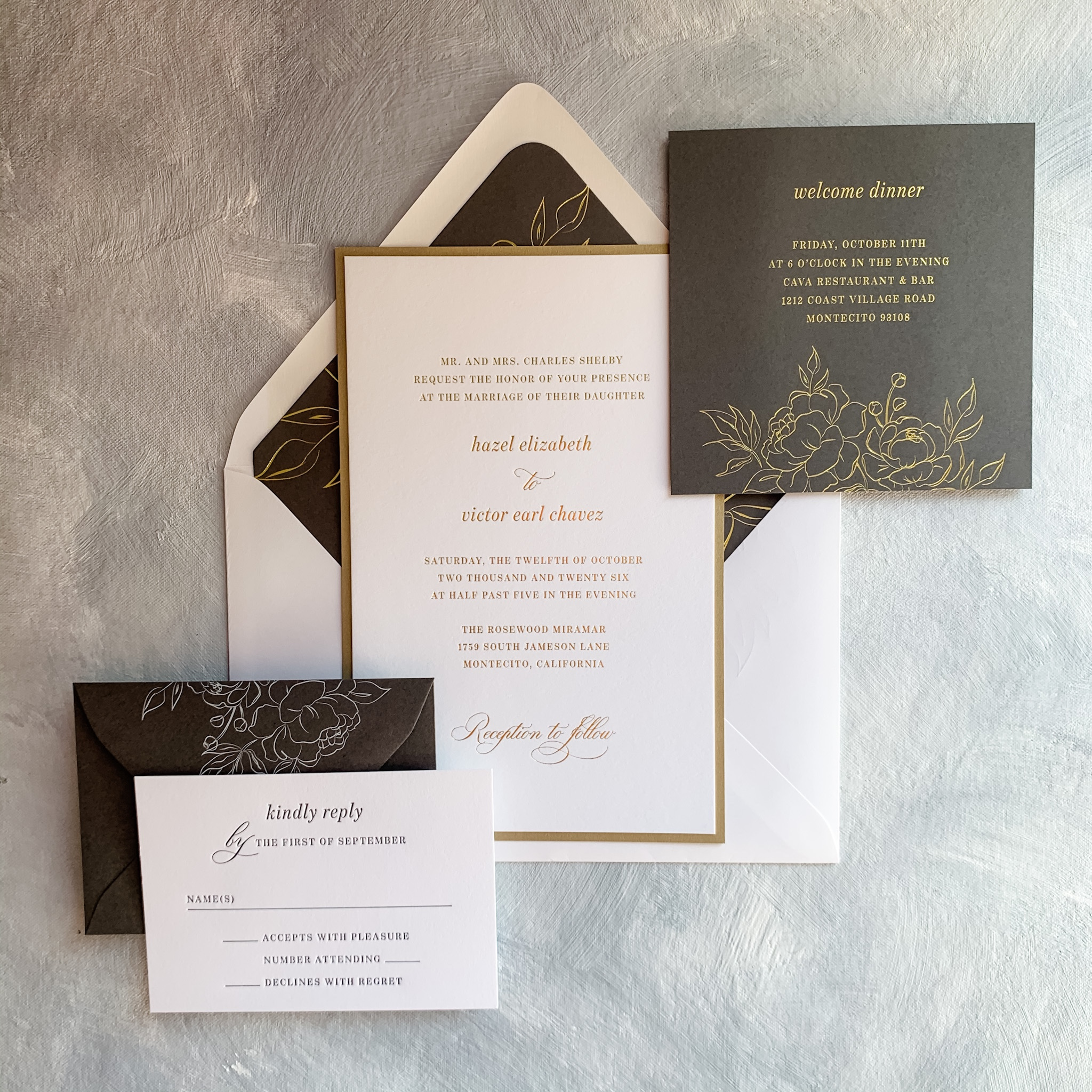 Green and gold foil accents are stunning n this layered wedding invitation available in Northern Virginia at Staccato