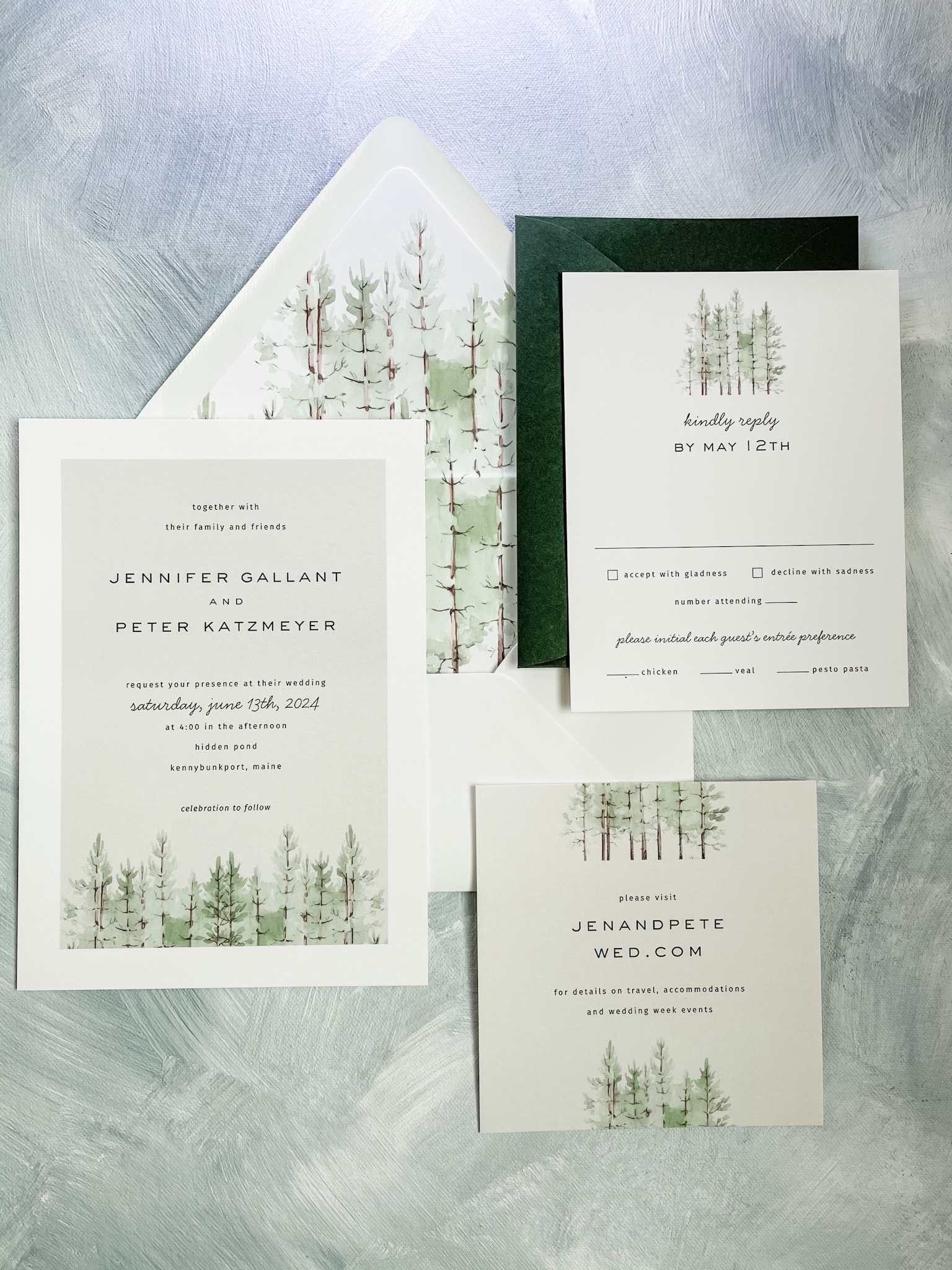 Woodland scene in watercolor accents this beautiful flat printed wedding invitation available at Staccato in Fairfax, VA.