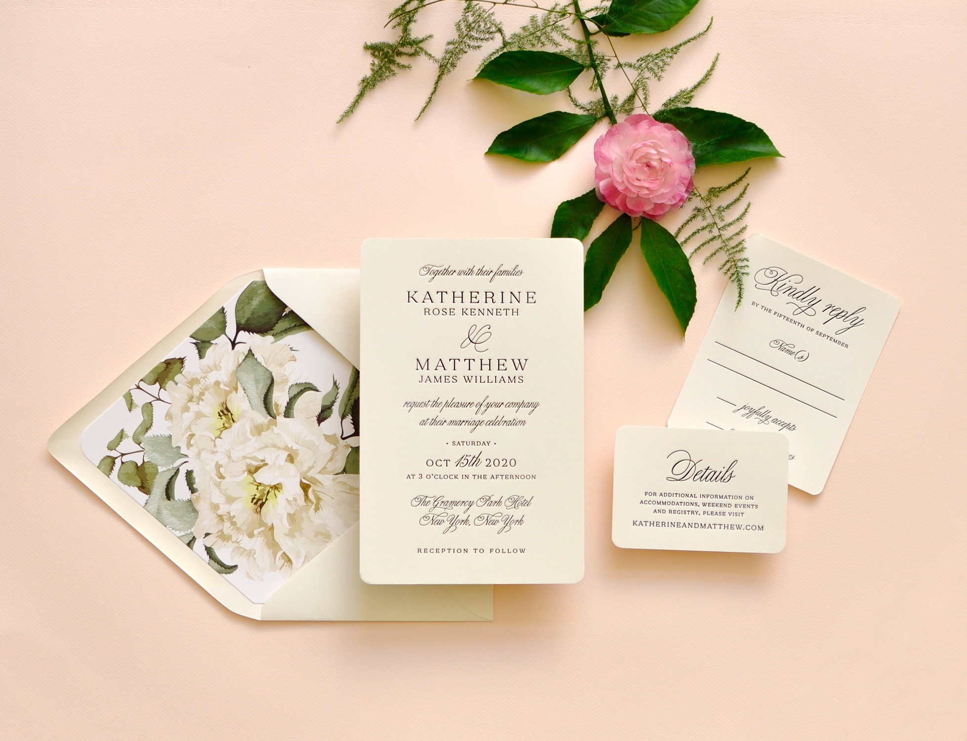 Gorgeous script and block text is beautifully letterpressed into a natural white 2-ply paper.