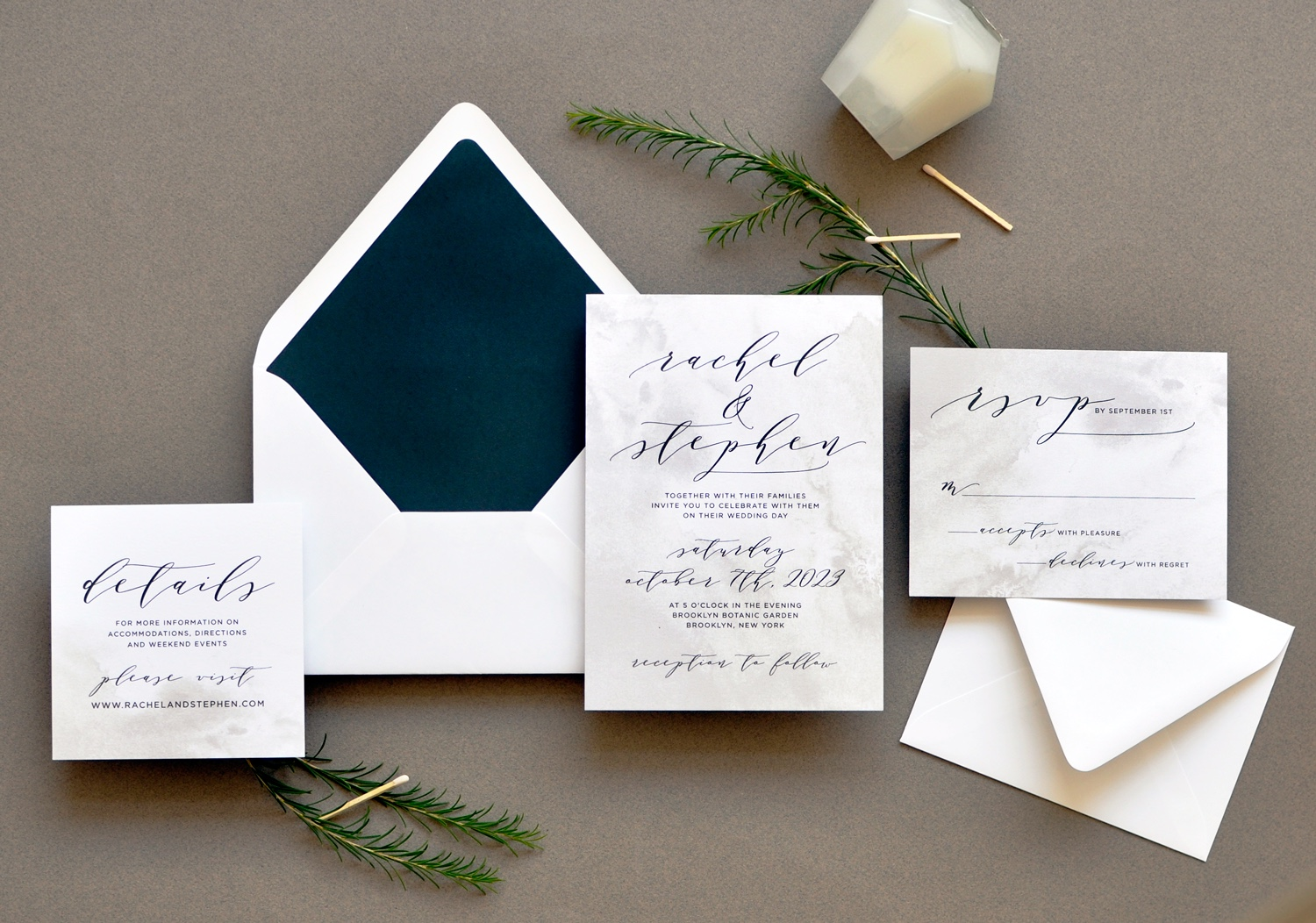 A beautiful graphic background of stone color, watercolor wash.  Contemporary calligraphy highlights text throughout, and a solid navy envelope liner is the perfect compliment.