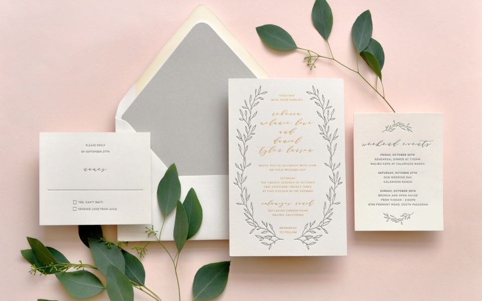 Luxurious foil and letterpress wedding invitation with delicate branches.  Wedding invitations northern Virginia, Letterpress Invitation Washington DC, Foil Invitations.