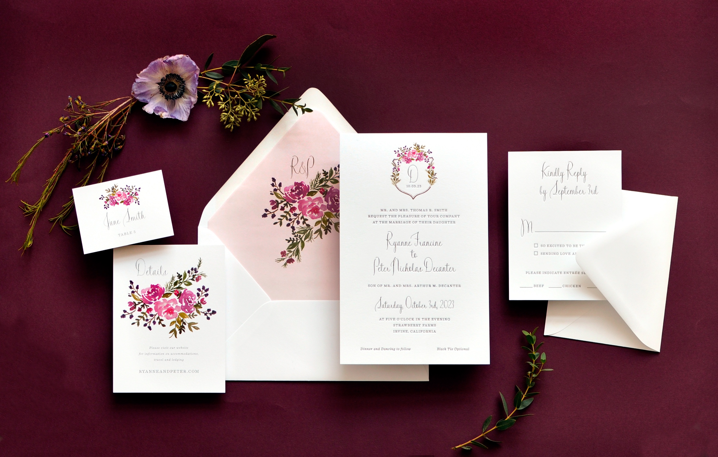 Delicate floral embellished monogram graces the top of this sweet letterpress wedding invitation.  Staccato provides luxury wedding invitations to clients from Virginia, Washington, DC, Maryland, and nationwide