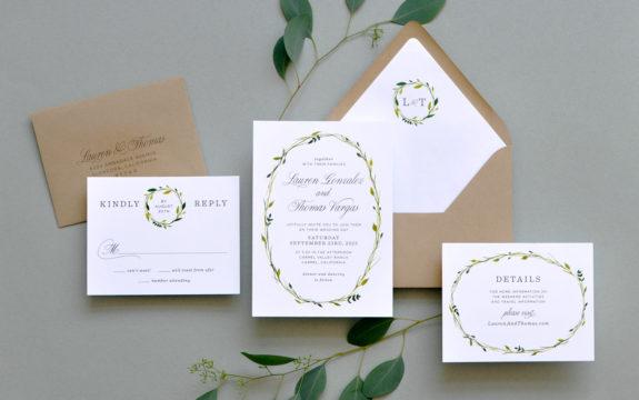 Delicate Wreath Wedding Invitation