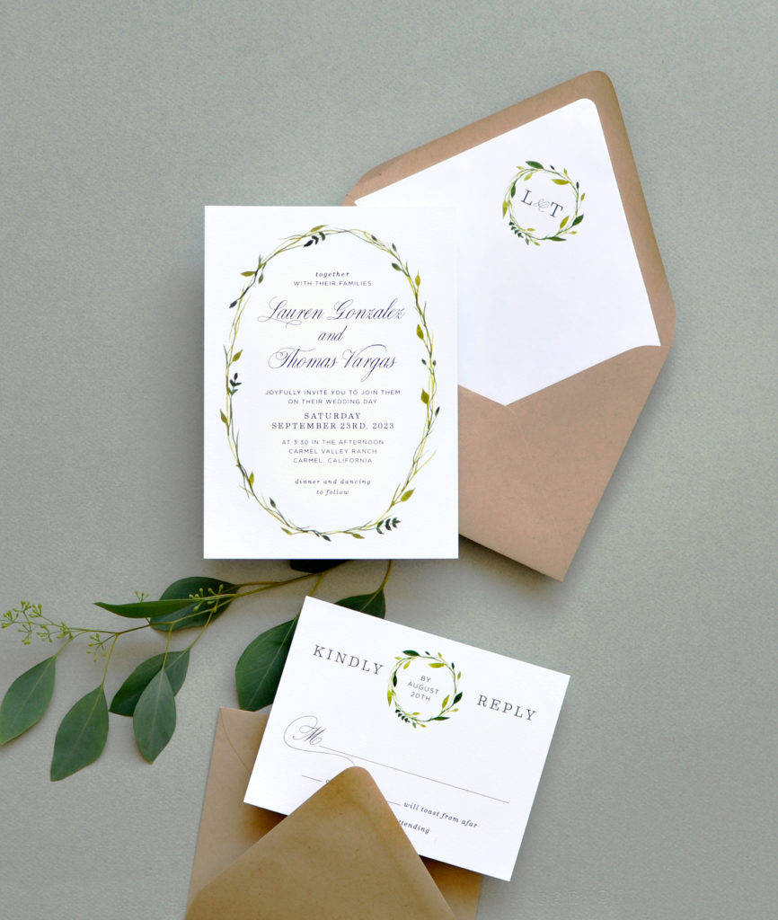 Delicate Wreath Wedding Invitation • Staccato