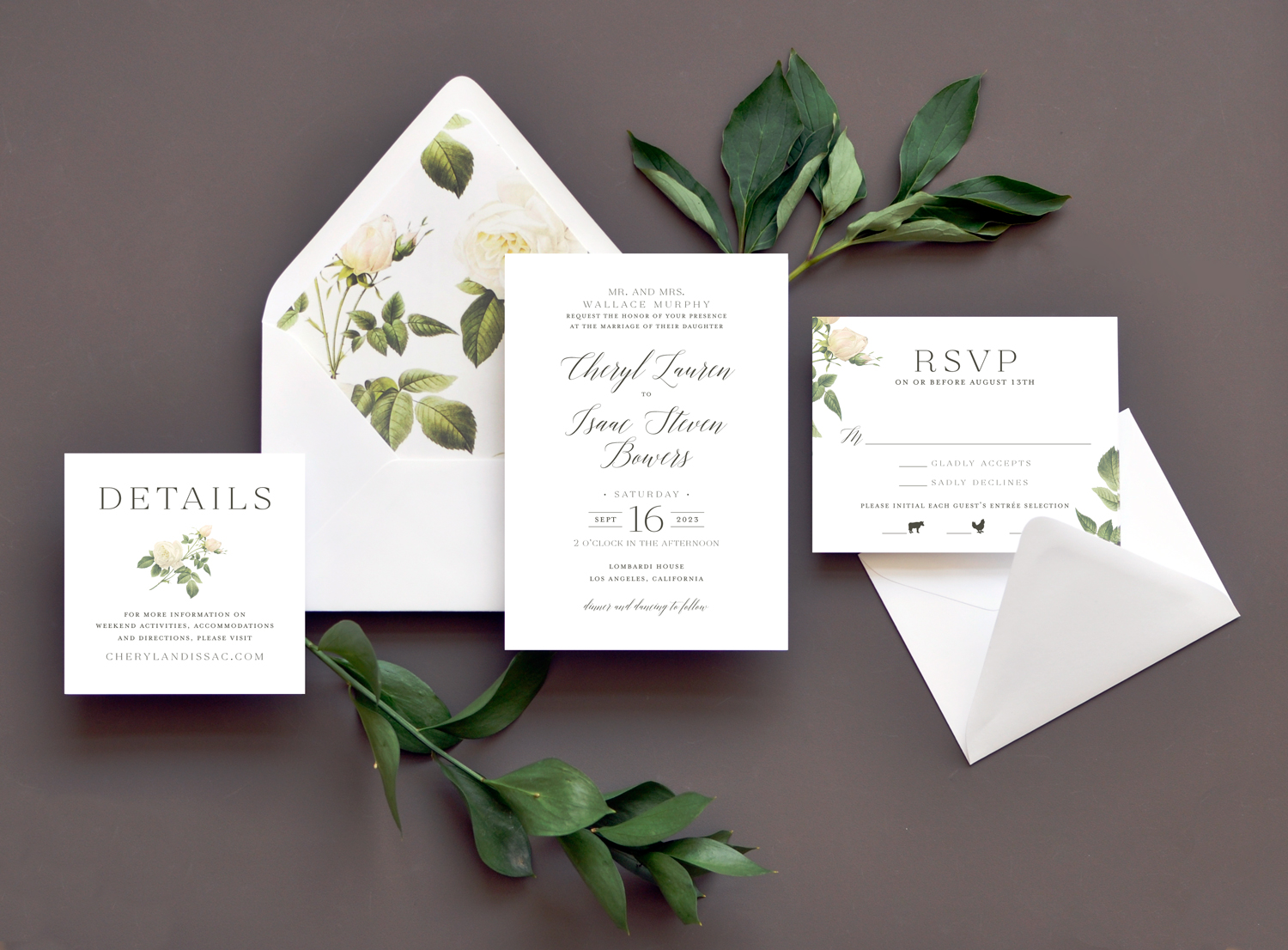 Staccato distinctive stationery for noteworthy events white roses on the dramatic envelope liner are a perfect accent to this text based stopboris