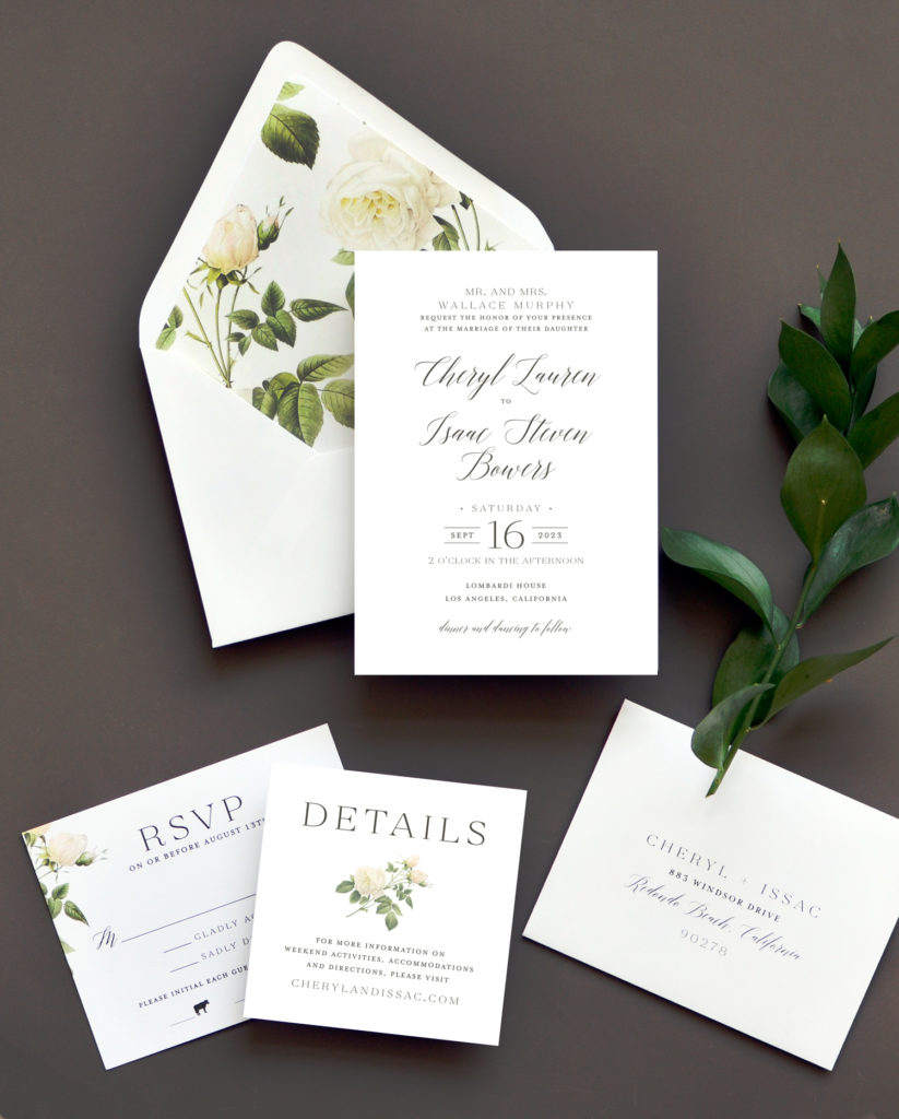 White roses on the dramatic envelope liner are a perfect accent to this text-based invitation design.  The same motif is used carefully as an accent on the inserts for a truly under-stated, yet impressive wedding invitation.