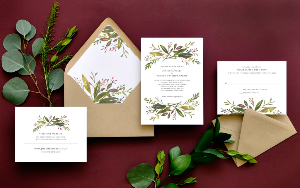 Fall greenery sprays at top and bottom are the highlight of this modern botanical wedding invitations.  Paired beautifully with kraft colored envelopes.