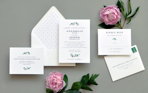 Modern Greens Wedding Invitation