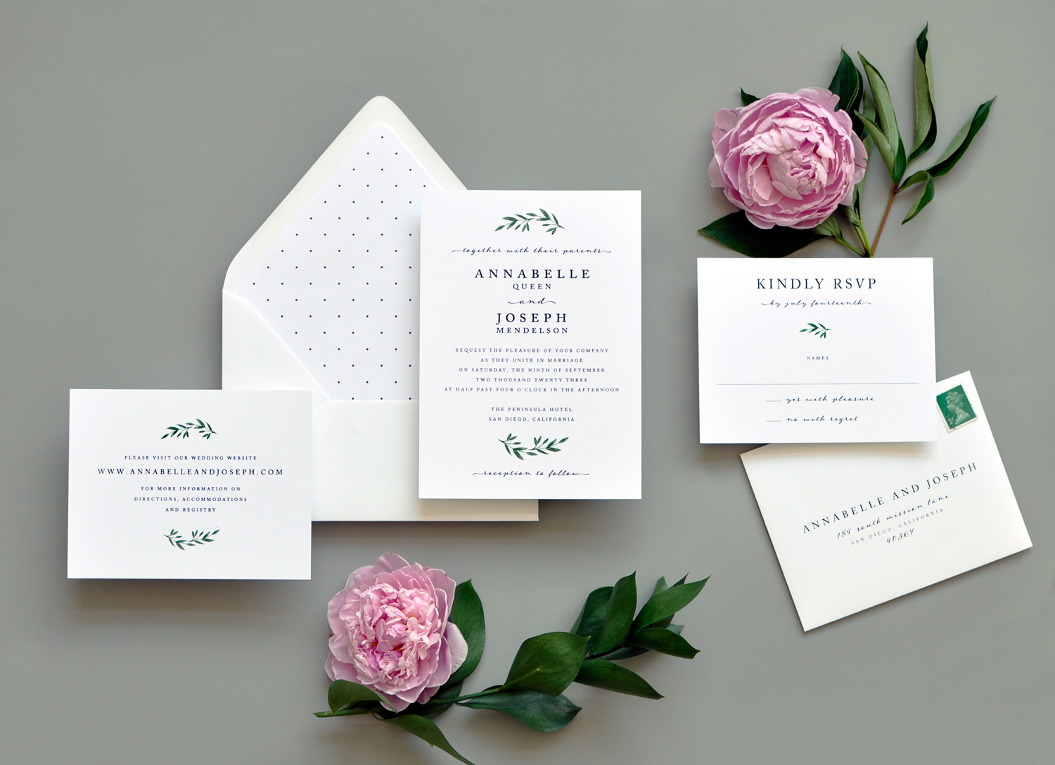 Modern Greens Wedding Invitation