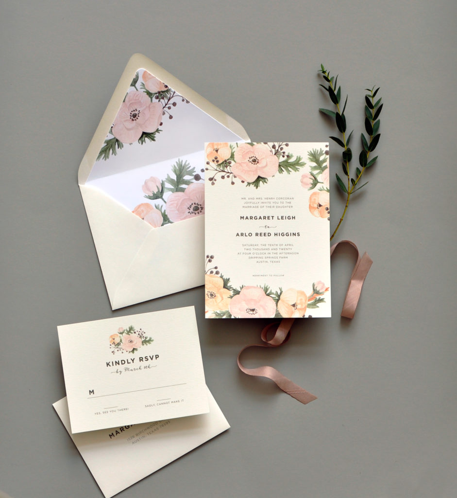 Blush Colored Watercolor Flowers Are The Highlight Of This Soft And Delicate Flat Printed Wedding Invitation Perfect For A Garden Or Even Bridal