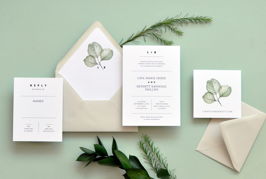 Contemporary Text Setting With Dividing Lines And A Bold Monogram Pairs Nicely Botanical Skeleton Leaves
